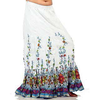 Sanganeri Leaf Print White Pure Cotton Skirt 271