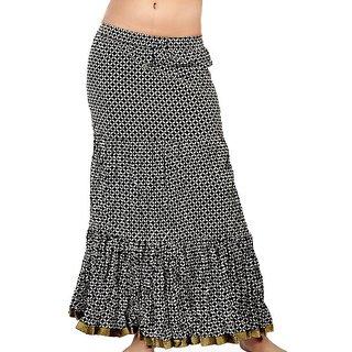 Fine Zari Border Black White Pure Cotton Skirt 272