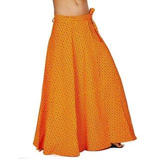 Ethnic Yellow Pure Cotton Wrap Around Skirt 296