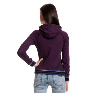 Front Open Printed Purple Hooded Zipper Sweatshirt