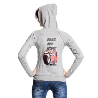 Front Open Printed Grey Hooded Zipper Sweatshirt