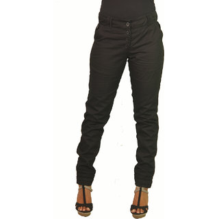 Ssysa Smart Women's Black Twill Trousers