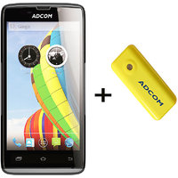 Combo Of Adcom A50 - Black + APB 4400mAh Powerbank- Yellow