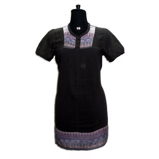 Solid Color Designer Printed Neck Casual Wear Top Tunic