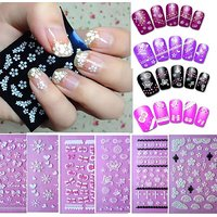 Sannysis 6PC Flowers Bow Lace Butterfly Snow Nail Art 3D Stickers Beauty Nail