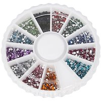 1800pcs 12 Color 1.5mm Nail Art Nailart Manicure Glitter Rhinestones Tips Round