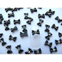 Nail Art 3d 40 Pieces Small Black Bow For Nails, Cellphones .8cm