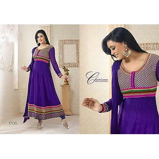 Prerna- Violet / INK Blue Anarkali Dress Material With Lace Work