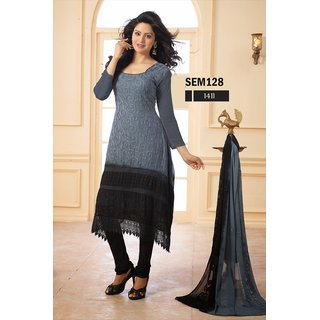 New Stylish Gray And Black Georgette Long Salwar Kameez