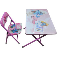 Kids Foldable Study Table And Chair - The Smurfs (Pink)