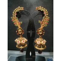 Beautiful Bollywood Style Stone And Metal Earring Multicolor