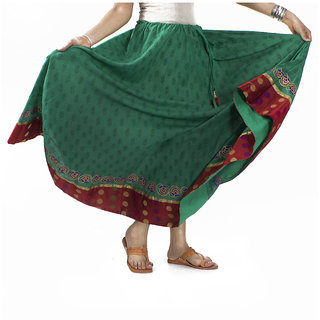 Green Hand Block Printed Cotton Skirt