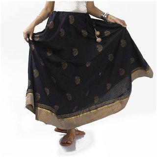 Black Hand Block Printed Cotton Skirt