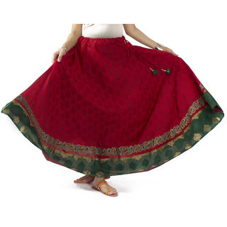 Red Hand Block Printed Cotton Skirt