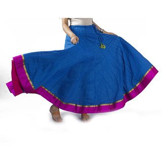 Blue Printed Skirt With Pink Border
