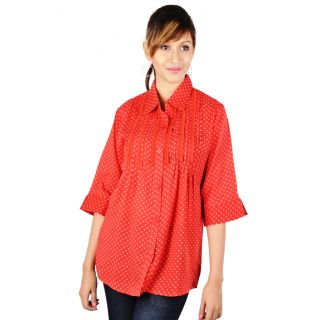 Ladies Cotton Printed Tunic Red