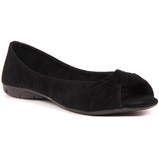 Sindhi Footwear Stylish Black Suede Ballerina