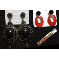 Black Designer Earing And Red And Black Earing , Red Stylish Stone Hair Pin