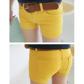 Hi Fashion Yellow Color Denim Fabric Short Pants Stylist Low Price Hurry.....