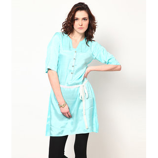 LOVE FROM INDIA  SOLID LONG TUNIC WITH BELT _buy One Tunic Get One Scraf Free