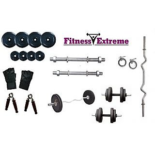 20 Kg Fitness Extreme Rubber Plates + 3 Ft Curl Bar + Dumbells Rods Home Gym Set