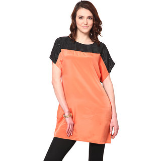 LOVE FROM INDIA ORANGE AND BLACK TUNIC _buy One Tunic Get One Scraf Free