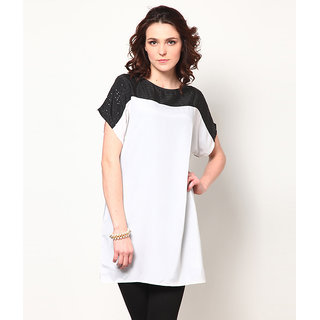 LOVE FROM INDIA  WHITE AND BLACK TUNIC _buy One Tunic Get One Scraf Free
