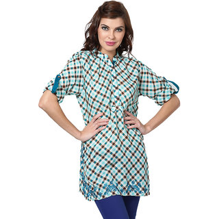 LOVE FROM INDIA  BLUE CHECKS TUNIC _buy One Tunic Get One Scraf Free