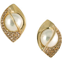 Oval Shaped Gold Tone Pearl Rhinestone Stud Earrings