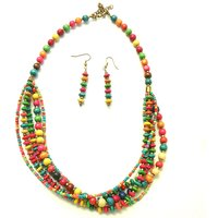Beadworks Multi Strand Wooden Necklace
