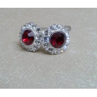 Red And White Stone Studded Round Toe Ring-A