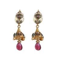 Rajwada Arts Fancy Drop Earrings With Red Stone And American Diamond