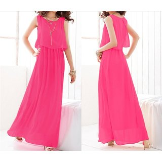 High Quality Pleated Bohemian Style Maxi Chiffon Beach Dress In Rose Red