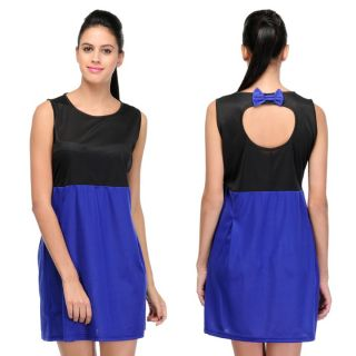 Stylish Sassy Dress With Back Bow In Double Shade