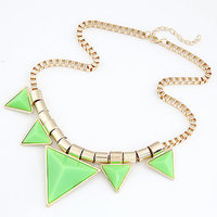 Ladies Imitation Fashion Choker Necklace Green Golden Party Jewelry Funky Modern