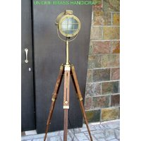 Photographers Antiques Solid Steel Spot Searchlight Timber Tripod Floor Lamp
