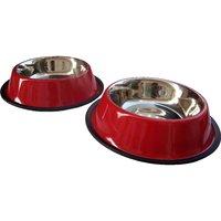 HMSTEELS Stainless Steel Pet Dog Bowl Anti Skid 2pc Set 16 Oz Plain And Embossed - 5354488