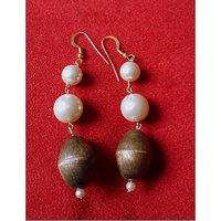 Handcrafted Metal Pearl Dangler Earrings