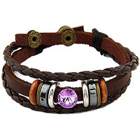 Young & Forever  Purple Crystal Weave Leather Bracelet For Women By CrazeeMania