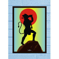 Stuffpanda Whacky Cool Mythological Retro Lord Hanuman Glass frame posters Wall art (8x12 inches)