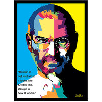 Stuffpanda Whacky Cool Funky Apple Steve Jobs Pixels face Glass frame posters Wall art (8x12 inches)