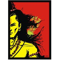 Stuffpanda Whacky Cool Funky Lord Rama Glass framed posters, Wall art (8x12 inches) Red