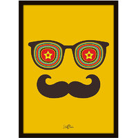 Stuffpanda Whacky Cool Funky Abstract Moustache Star Glass frame posters Wall art (8x12 inches)