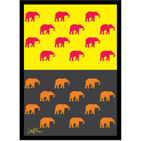 Stuffpanda Whacky Cool Funky Abstract ethnic Elephants many Glass frame posters Wall art (8x12 inches)