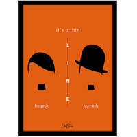 Stuffpanda Whacky Cool Funky Chaplin Hitler Glass frame posters, Wall art (8x12 inches)