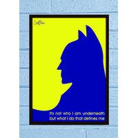 Stuffpanda Whacky Cool Funky Batman Yellow Blue Glass frame posters Wall art (8x12 inches)