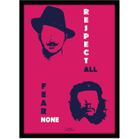 Stuffpanda Whacky Cool Funky Motivational Bhagat CheGuavera Glass framed posters, Wall art (8x12 inches) Pink