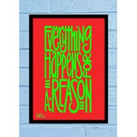 Stuffpanda Whacky Cool Abstract Motivation Everything happens Glass frame posters Wall art (8x12 inches)