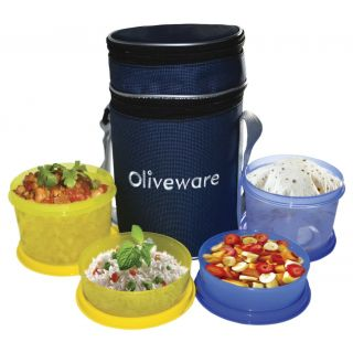 Oliveware Smart Lunch Bag With 2 Big And 2 Small Containers