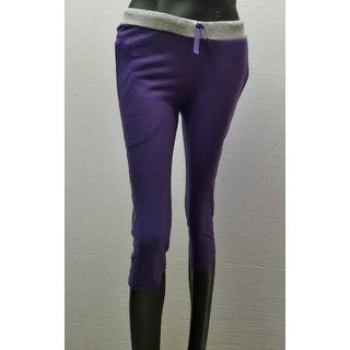 DFH Premium Cotton Woven Purple Women Capri